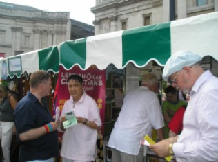Our Information Stand at Trafalgar Square