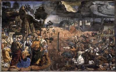 Moses Crossing Red Sea - Sistine Chapel